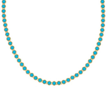 """As Is"" Sleeping Beauty Turquoise Sterling 18"" Tennis Necklace - J333148"
