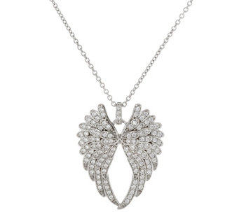Diamonique Angel Wing Pendant w/ Chain, Sterling - J333648