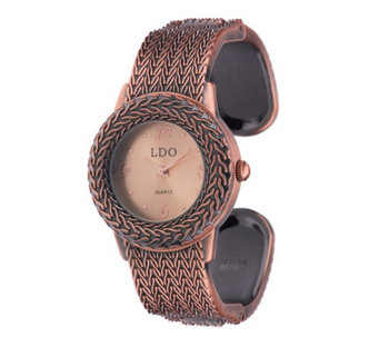 """As Is"" Linea by Louis Dell'olio Textured Cuff Watch - J334348"