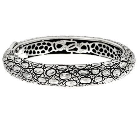 JAI Sterling Croco Texture Hinged Bangle Bracelet 51.1g