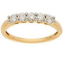 """As Is"" 1/2 ct tw 5 Stone Diamond Band Ring 14K Gold, by Affinity - J347248"