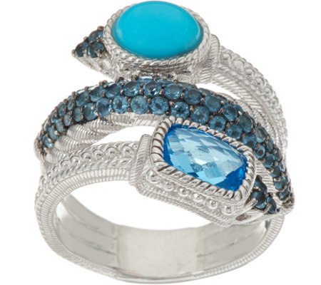Judith Ripka Sterling Silver 2.50 cttw Blue Topaz & Turquoise Ring