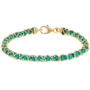 Italian Gold 6-3/4 Gemstone Bead Bracelet 14K Gold