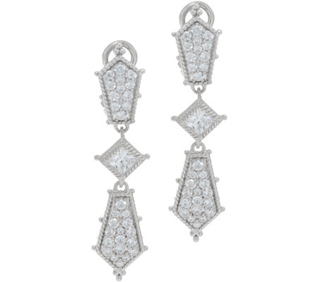 Judith Ripka Sterling Silver Diamonique Drop Earrings 2.45 cttw