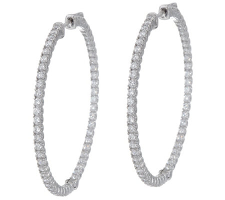 "Diamonique 1 3/4"" Inside Out Hoop Earrings, Sterling"