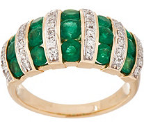 Emerald and Diamond Band Ring, 14K, 1.30 cttw - J354148
