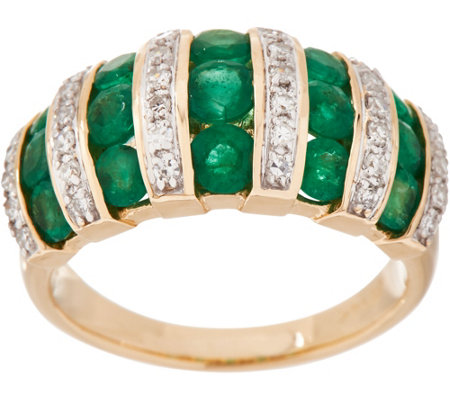 Emerald and Diamond Band Ring, 14K, 1.30 cttw