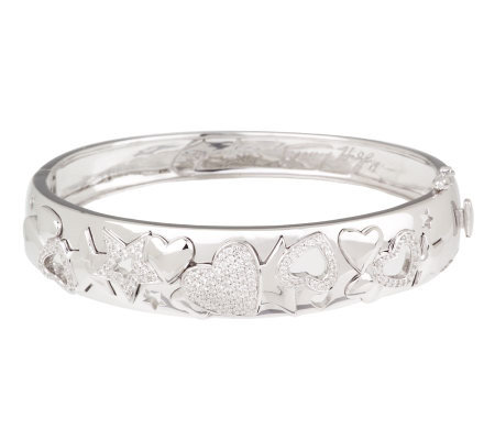 Nancy Davis Diamonique Sterling Heart and Star Pave' Bangle