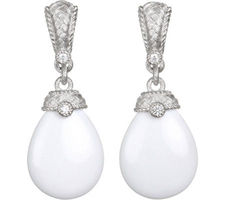 Judith Ripka Sterling White Agate & DiamoniqueEarrings