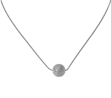 Italian Silver Laser-Cut Bead Necklace, Sterling