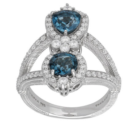 Judith Ripka Sterling Blue Topaz and DiamoniqueRing