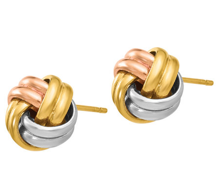 Italian Gold Tri-Color Knot Post Earrings, 14K