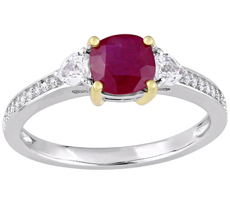 14K Gold 1.30 cttw Ruby and Diamond Accent Three-Stone Ring