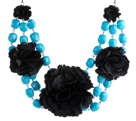 "Joan Rivers Pretty Petals Flower & Beads 16"" Necklace w/3"" Extender"