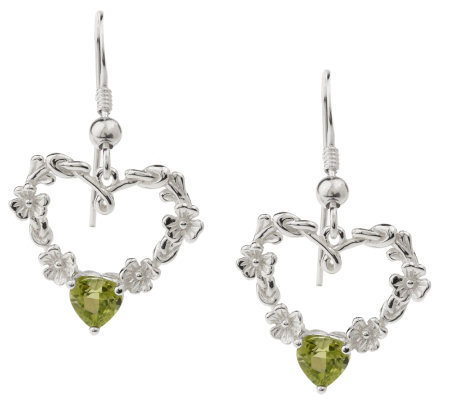 Solvar Sterling Silver Shamrock Heart Earrings with Peridot