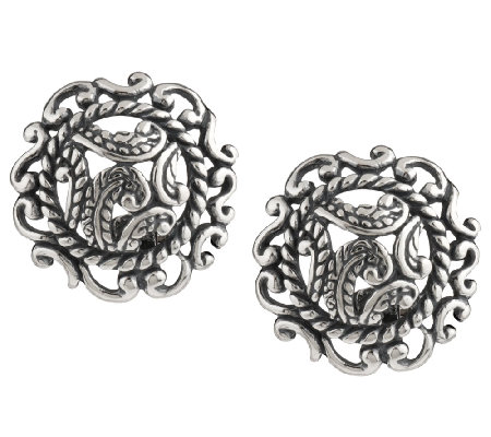 Carolyn Pollack Silver Rodeo Sterling Button Earrings