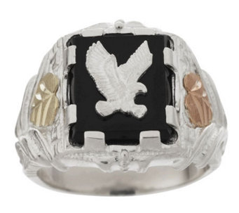 Black Hills Eagle Ring w/ Onyx Center Sterling/ 12K - J159249