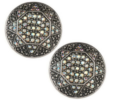Pave' Star Button Earrings