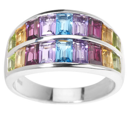 2.50 ct tw Graduated Multi-Gemstone Baguette Sterling Ring