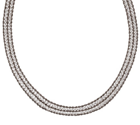 "Vicenza Silver Sterling 20"" Multi-strand Diamonique & Rope Necklace"