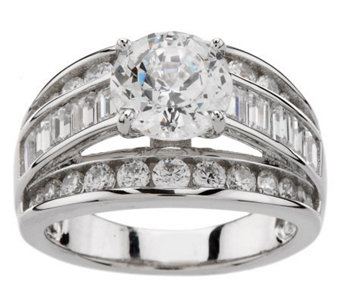 Diamonique 100-Facet 3.50 cttw Ring, Platinum Clad - J270349