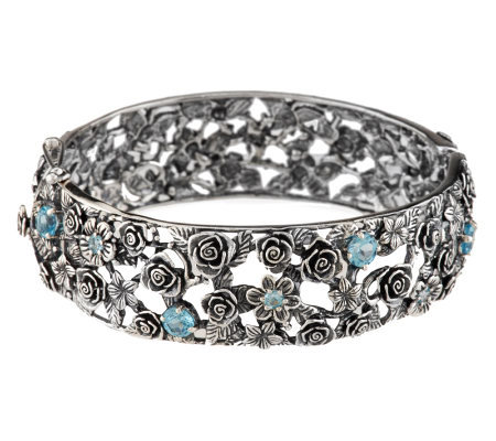 Or Paz Sterling 2.40 ct tw Blue Topaz Large Bangle, 44.0g