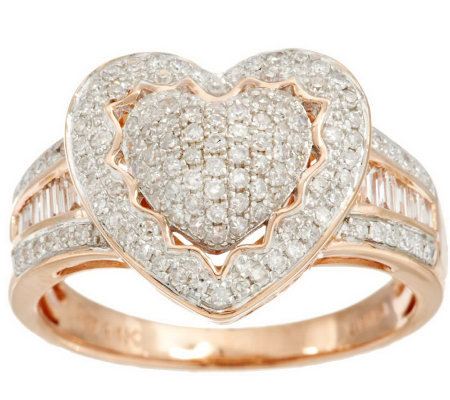 Pave Heart Halo Amp Baguette Diamond Ring 14k 1 2 Cttw By