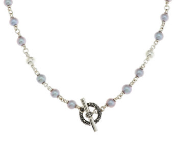 "Michael Dawkins Sterling Starry Night Grey Pearl Necklace 18"" - J289649"