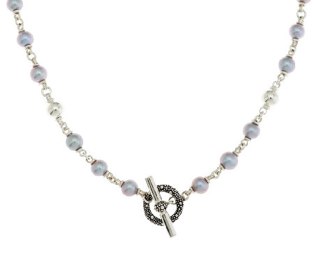 Michael Dawkins Sterling Starry Night Grey Pearl Necklace 18""