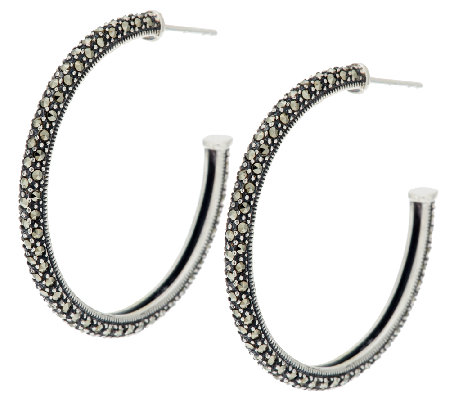 Marcasite Pave' Sterling Hoop Earrings