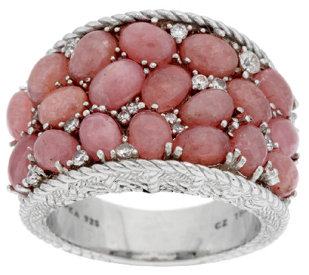 Judith Ripka Rhodocrosite and 3/8cttw Diamonique Saddle Ring