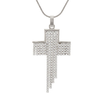 Vicenza Silver Sterling Crystal Diagonal Cross Pendant w/Chain - J291449