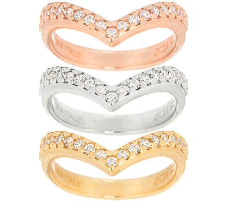 VicenzaSilver Sterling Set of 3 Diamonique Chevron Rings