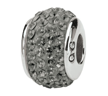 Prerogatives Sterling Full Silver/Gray Swarovski Crystal Bead