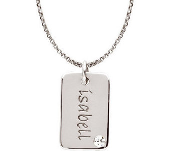 Posh Mommy Mini Tag Simulated Birthstone Pendant with Chain - J300049