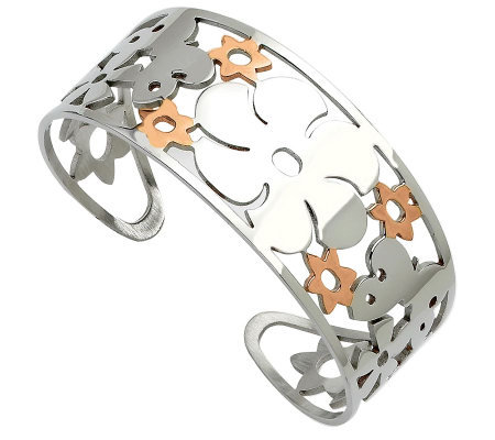 Stainless Steel Butterfly & Flowers Cuff Bracelet