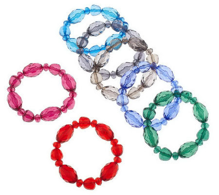 Set of 7 Bold Faceted Bead Bracelets by GaroldMiller