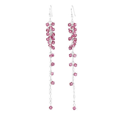 Sterling Pink Crystal Bead Dangle Earrings