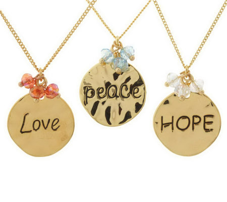 Set of 3 Inspirational Charm Necklaces by Garold Miller
