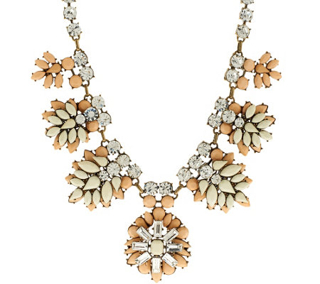 Joan Rivers Crystal and Opaque Jeweled Clusters Necklace