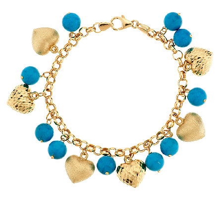 """As Is"" VicenzaGold 6-3/4""Turquoise & Heart Charm Bracelet, 14K"
