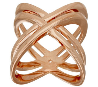 Bronze Polished Double X-Design Ring by Bronzo Italia - J320249