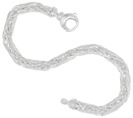 "Sterling Silver 8"" Wheat Bracelet by Silver Style"