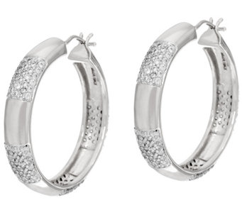 "Bronzo Italia 1-1/4"" Round Pave Crystal Station Hoop Earrings - J321749"