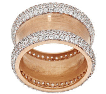 """As Is"" VicenzaSilver Sterling Pave' Diamonique & Satin Band Ring - J323449"