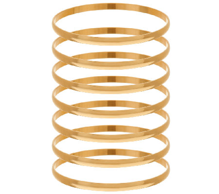 Bronze Set of 7 Polished Round Bangles by Bronzo Italia