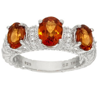 Judith Ripka Sterling 2.50 cttw Triple Hessonite Ring - J324049
