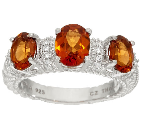 Judith Ripka Sterling 2.50 cttw Triple Hessonite Ring