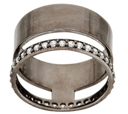 """As Is"" Italian Silver Diamonique & Polished Double Band Ring"