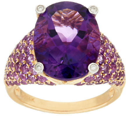 Uruguayan Amethyst & Pave Amethyst Bold Ring, 14K Gold 8.50 cttw